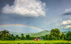 поле, домики, деревья, горы, радуга, небо, пейзаж
