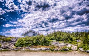 USA, Vermont, costruzione, alberi, cielo, Rocce, paesaggio