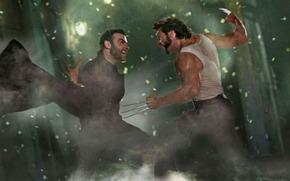 Hugh Jackman, X-Men, Wolverine, Росомаха, когти, ярость, лезвие, комикс, cartoon