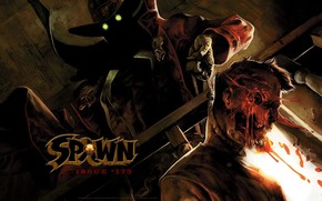 art, Spawn, Spawn, demon, infernal, monster, comic strip, cartoon