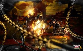 art, Ghost Rider, infernal, Ghostly, racer, Biker, demon, fire, flame, motorcycle
