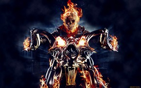arte, Ghost Rider, infernal, Fantasmal, corredor, Biker, demonio, fuego, llama, motocicleta
