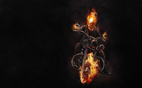 art, Ghost Rider, infernal, Ghostly, racer, Biker, demon, fire, flame, motorcycle