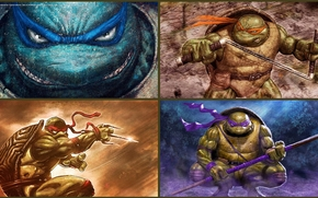 art, Leonardo, Raphael, Donatello, Michelangelo, Turtles, ninja, Teenage Mutant Hero Turtles, TMHT, comic strip, cartoon