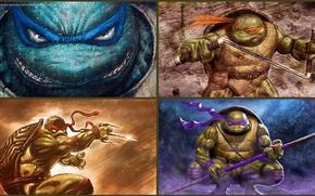 arte, Leonardo, Raphael, Donatello, Michelangelo, Tartarughe, ninja, Adolescenti Mutant Hero Turtles, TMHT, comic strip, cartone animato