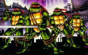 arte, Tartarughe, ninja, Adolescenti Mutant Hero Turtles, TMHT, comic strip, cartone animato