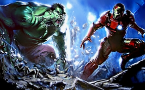 iron man, halk, comic strip, cartoon, art
