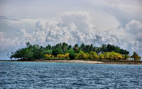 mar, costa, Palms, nubes, paisaje