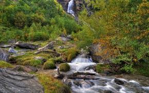 водопад, река, камни, деревья, пейзаж