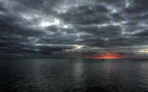 небо, море, солнце, закат