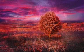 campo, árbol, 3d, arte