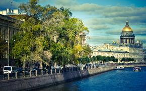 petersburg, Peter, St. Petersburg, Russia, embankment, Boat, river, home, building