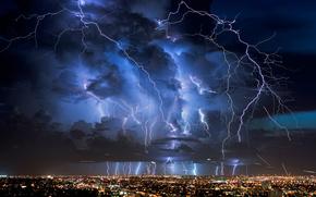 tempesta, fulmine, città