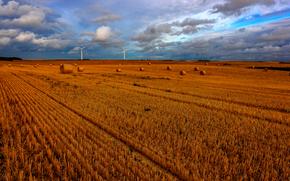 поле, ветряки, небо, облака, пейзаж