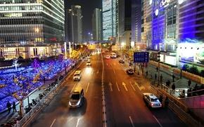 Shanghai, Cina, città, notte