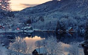 芬兰, 日落, 湖, 家, 冬天, 景观