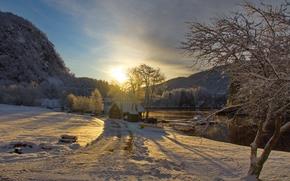 финляндия, закат, река, зима, дом, пейзаж