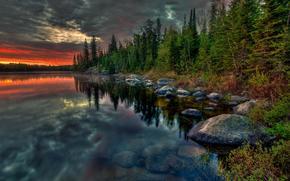 Ontario, Canadá, puesta del sol, lago, bosque, paisaje