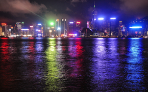Hong Kong, China, city, night, lights