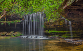 водопад, деревья, река, природа