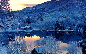 日落, 芬兰, 家, 湖, 景观