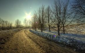 inverno, stradale, tramonto, paesaggio