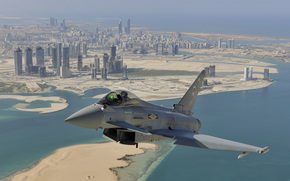 Eurofighter Typhoon, multi-purpose, fighter, flight, city, Dubai