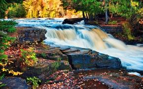 瀑布, 河, 秋, 树, 岩石, 性质