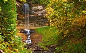autunno, cascata, Rocce, alberi, natura