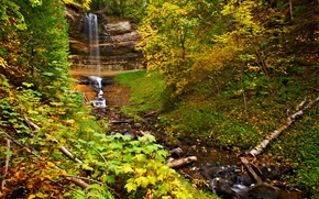 autumn, waterfall, Rocks, trees, nature