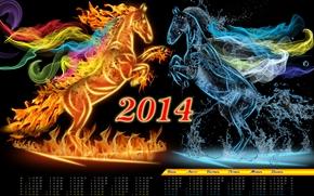 2014, calendar, year of the horse