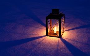 lamp, candle, snow