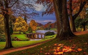 autumn, park, bridge, small river, trees, landscape