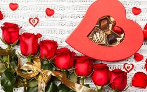 fiori, Fiore, rosso, rose. cuori, caramelle, contento, San Valentino, giorno