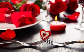 happy, valentines, day, roses, red, hearts