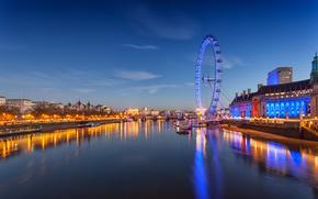 London Eye, Millennium Wheel, londra, inghilterra, Tamigi, Il London Eye, Londra, Inghilterra, fiume, Thames, Ruota gigante, la vita notturna della città