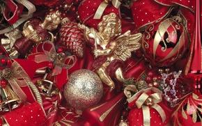 Toys, ornamentation, Balls, angel, figures, Bells