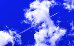 небо, облака, самолёт