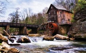 河, 磨, 桥, 景观