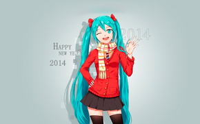 girl, Blue hair, New Year, 2014, happy new year