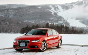 Audi S4, Audi, inverno, Montagne, rosso