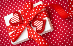 happy, valentines, day, Love, red, hearts, box, Bow