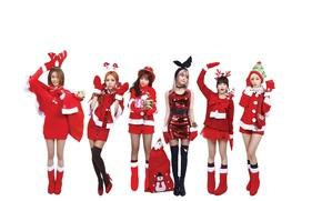 szczęśliwy, ferie, wesoły, Boże Narodzenie, nowy, rok, dziewczyny, muzyka