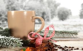 szczęśliwy, ferie, wesoły, Boże Narodzenie, nowy, rok, kubek, kawa