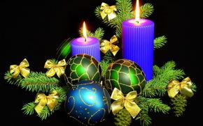 Новый год ( Рождество ), Свечи, Шарики