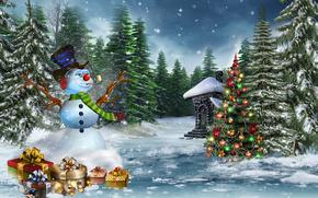 Capodanno (Natale), inverno, abete, pupazzo di neve, abete rosso, doni, nevicata