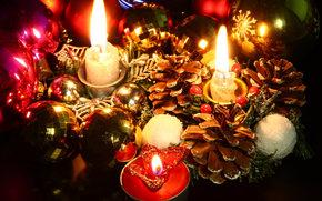 Новый год ( Рождество ), свечи, шишки