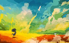 deleitar, alegría, cohete, saltar, paraguas, cielo, vuelo