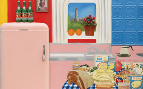 cucina, tavolo, finestra, alimento, Fiori, frigorifero, immagine, pittura