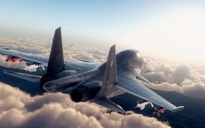 су-27, самолет, ракеты, небо, облака, свет, солнце, полет, блики, крылья